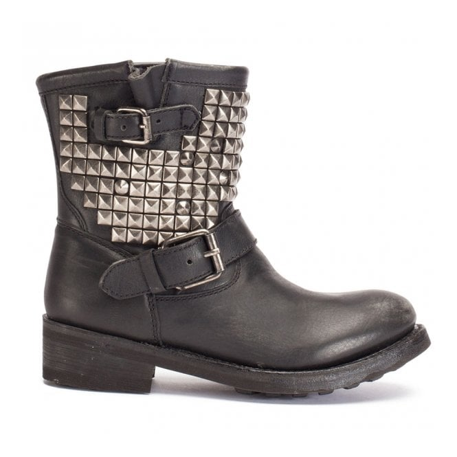 Ash TITAN Ankle Boots Black Leather & Tarnished Silver Studs