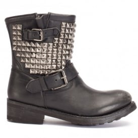 TITAN Ankle Boots Black Leather & Tarnished Silver Studs