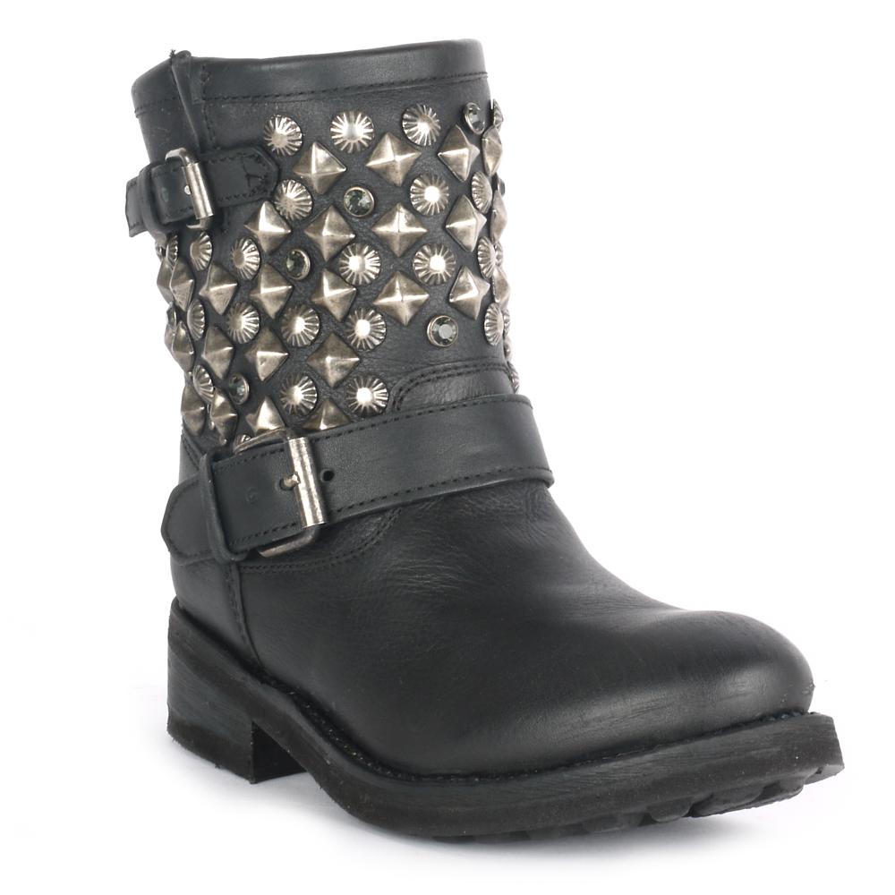 Ash TITANIC studded black ankle biker boots