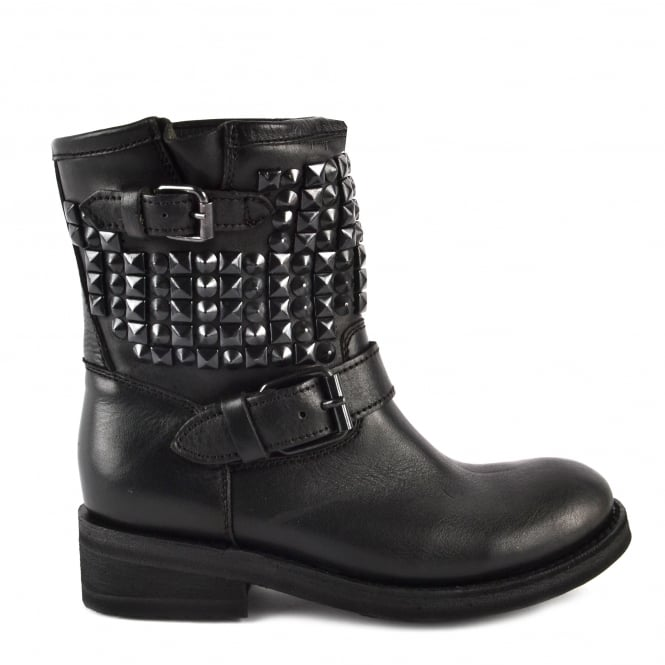 Ash TRAP Biker Boots Black Leather & Studs