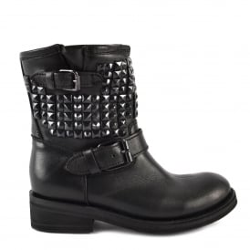 TRAP Biker Boots Black Leather & Studs
