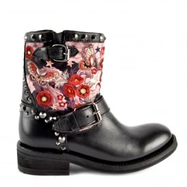 TRIANA Biker Boots Black Embroidered Leather