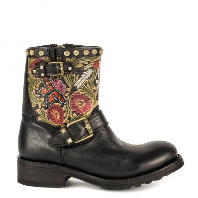 Ash TRIBAL Biker Boots Painted Black Leather