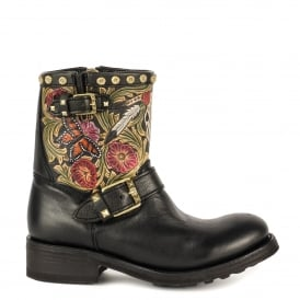 TRIBAL Biker Boots Painted Black Leather