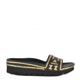 TRIBAL Black & Gold Woven Leather Chunky Sandals