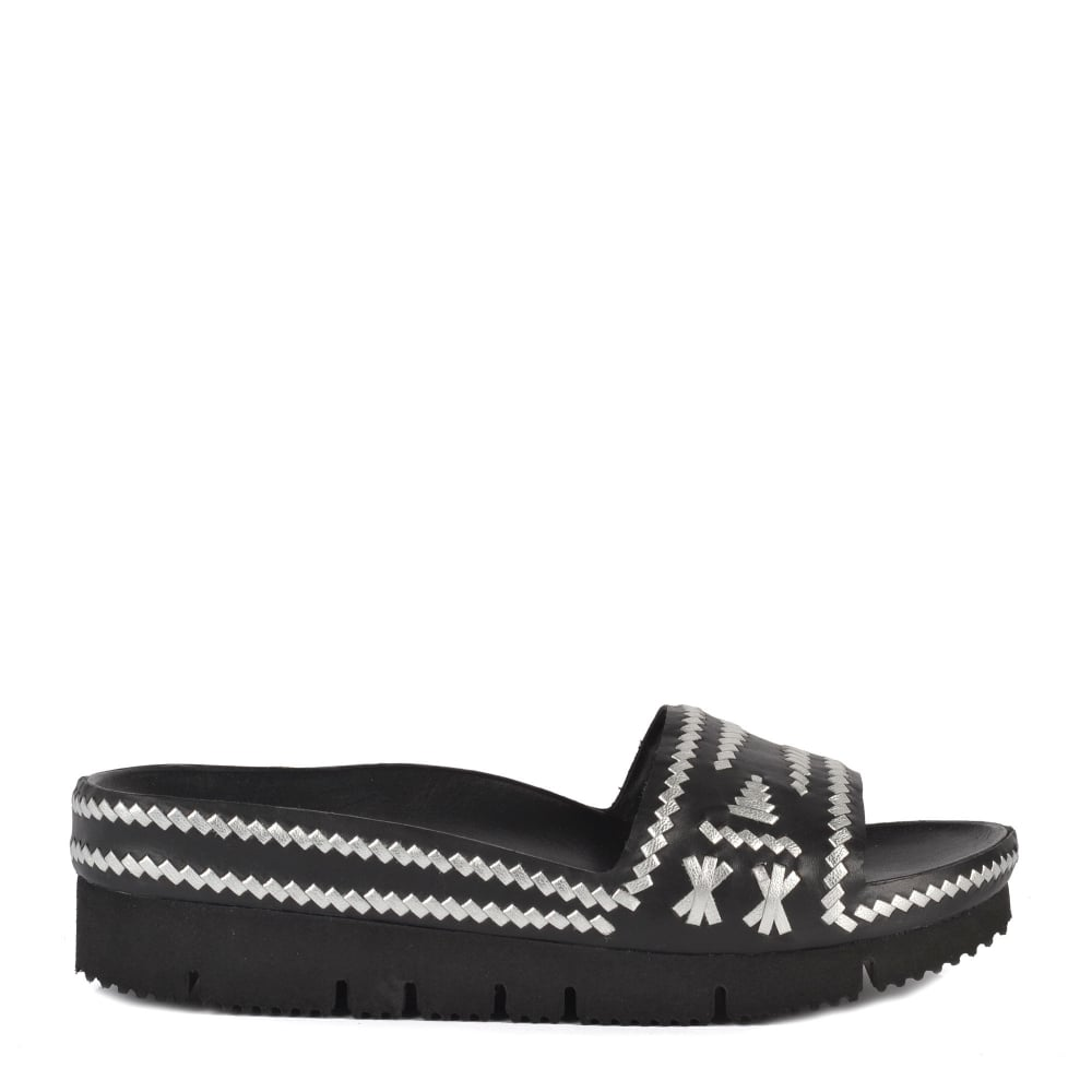 21249fcbec4 TRIBAL Black   Silver Woven Leather Chunky Sandals