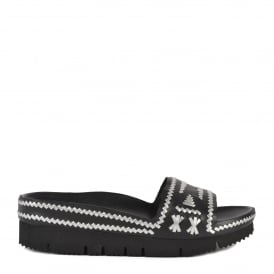 TRIBAL Black & Silver Woven Leather Chunky Sandals