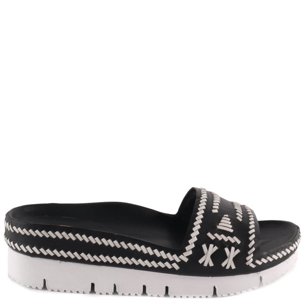 dde6687bd80 Ash TRIBAL Black   White Woven Leather Chunky Sandals