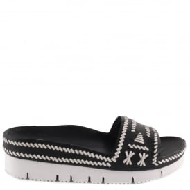 TRIBAL Black & White Woven Leather Chunky Sandals