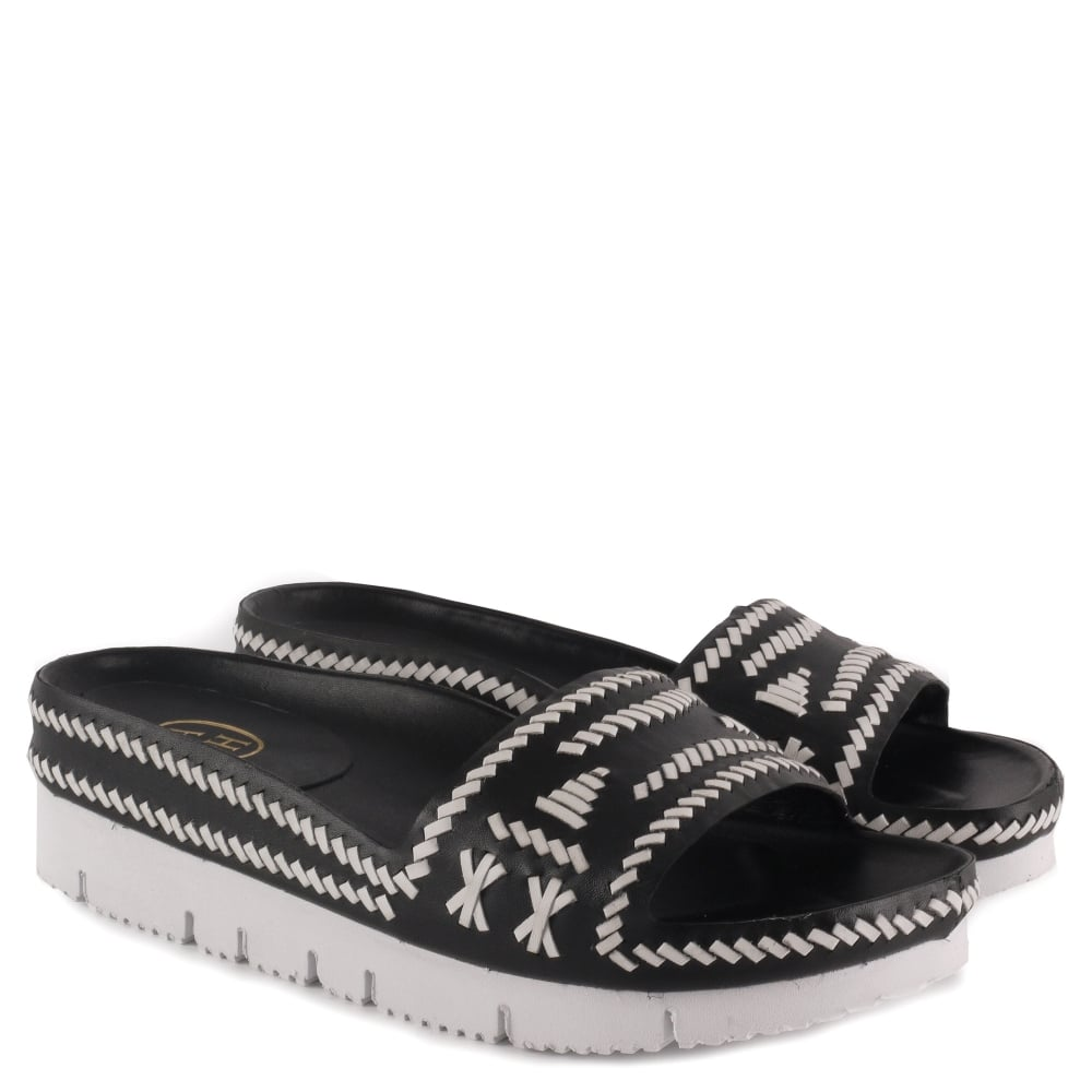 24181e8e56dd3 TRIBAL Black   White Woven Leather Chunky Sandals