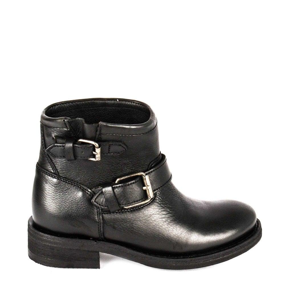 9982a8990864 Ash Trick Black Leather Biker Boots