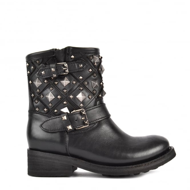 Ash TRONE Biker Boots Black Leather Old Nickel Studs