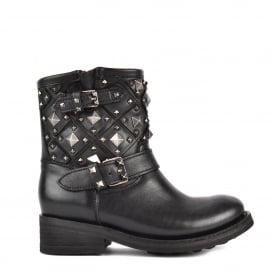 TRONE Biker Boots Black Leather Old Nickel Studs