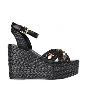 TULUM Wedge Sandals Black Woven Leather & Gemstones