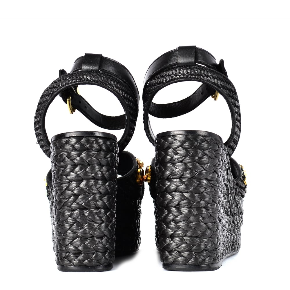 5e946b5b2be TULUM Wedge Sandals Black Woven Leather & Gemstones