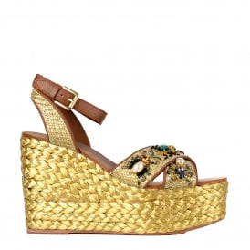 TULUM Wedge Sandals Tan Woven Leather & Gemstones