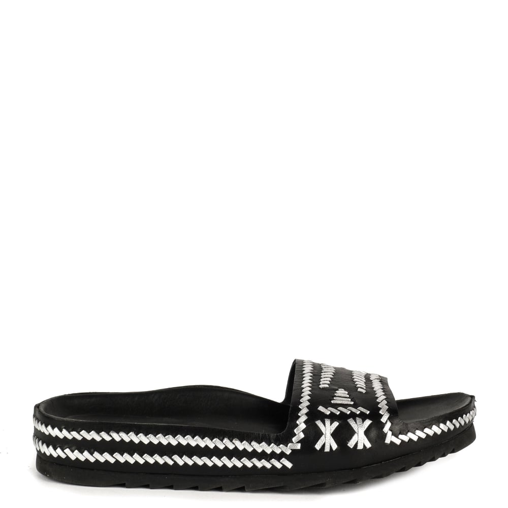 ULLA Chunky Sandals Black and Silver Woven Leather
