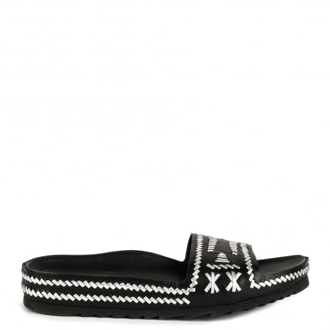 Ash ULLA Chunky Sandals Black and Silver Woven Leather
