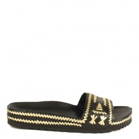 ULLA Flat Chunky Sandals Black & Gold Woven Leather