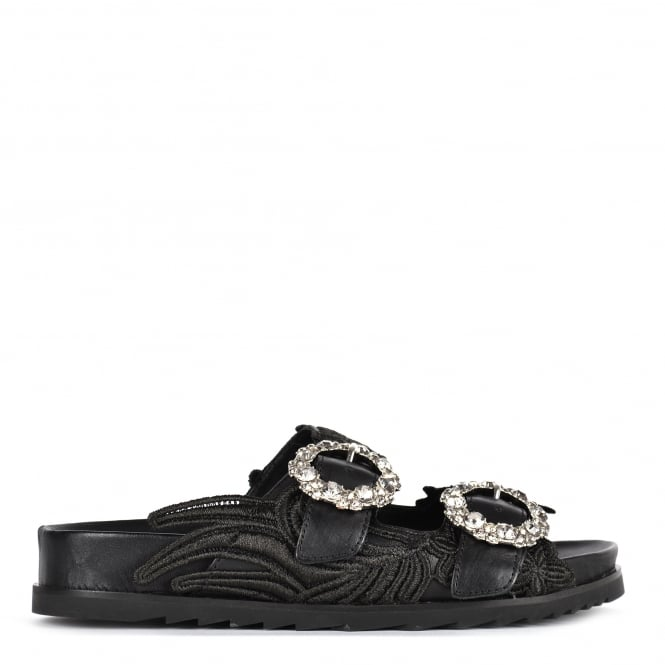 Ash UMA Two Strap Buckle Sandals Black Leather
