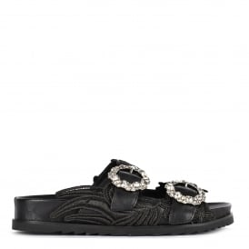 UMA Two Strap Buckle Sandals Black Leather