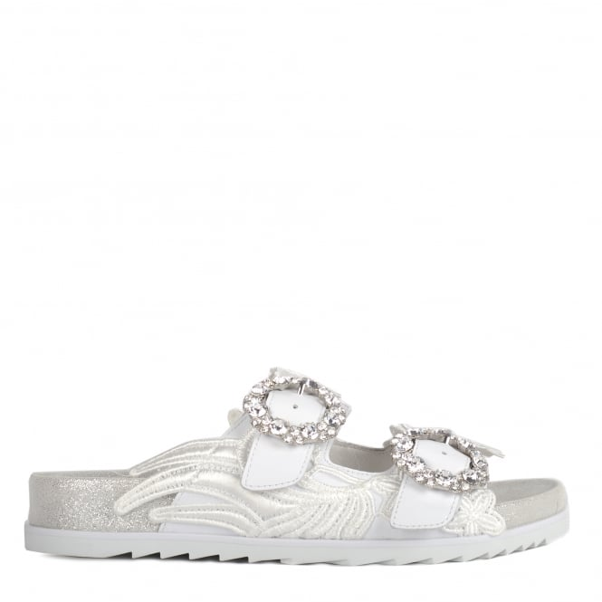 Ash UMA Two Strap Buckle Sandals White Leather