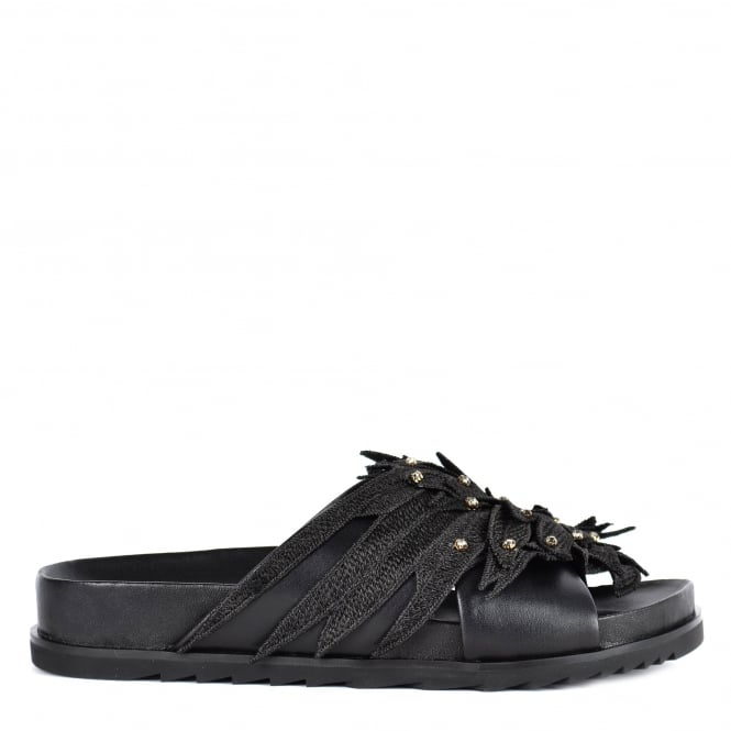 Ash URIEL Embellished Cross Over Sandals Black Leather