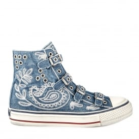 VAL Buckle Trainers in Embroidered Blue Denim