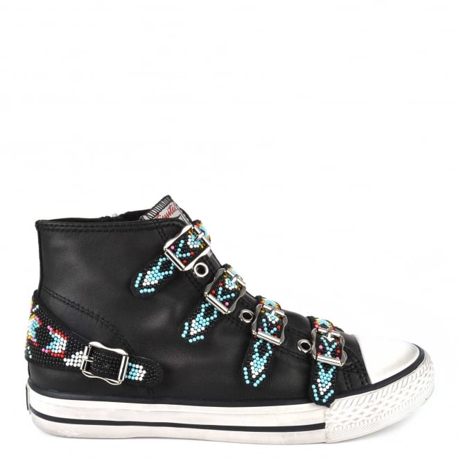 Ash VAQUERO Buckle Trainers Black Leather & Beads