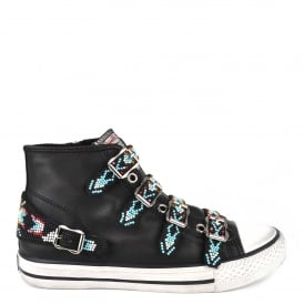 VAQUERO Buckle Trainers Black Leather & Beads