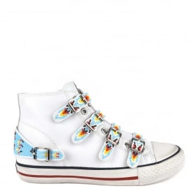 VAQUERO Buckle Trainers White Leather & Beads