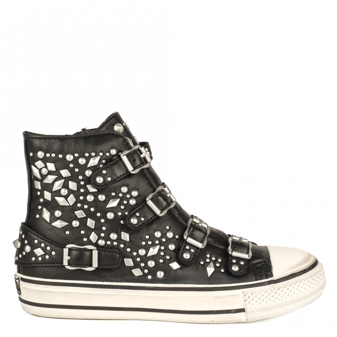 Ash VEGAS Buckle Trainers Black Leather & Silver Studs