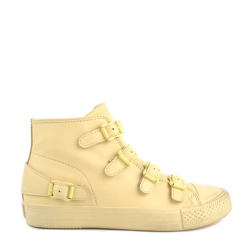 Ash VENUS Buckle Trainers Yellow Chick Leather