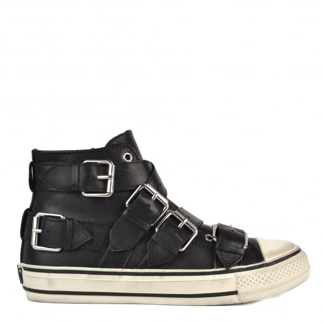 Ash VERSO Thick Buckle Strap Trainers Black Leather