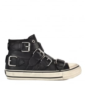 VERSO Thick Buckle Strap Trainers Black Leather