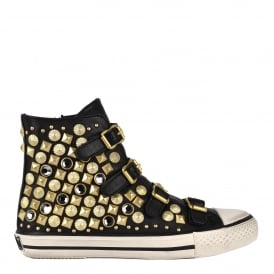 VICTIM Buckle Trainers Black Leather & Gold Studs