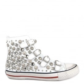 VICTIM Buckle Trainers White Leather & Silver Studs