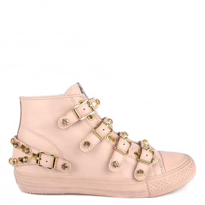 Ash VICTORIA Buckle Trainers Pink Leather & Gold Studs