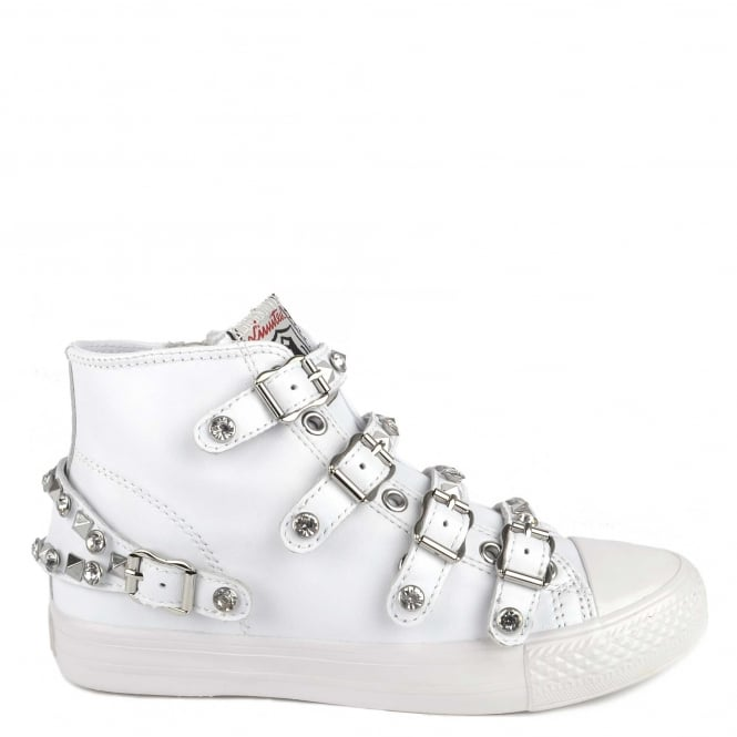 Ash VICTORIA Buckle Trainers White Leather & Silver Studs
