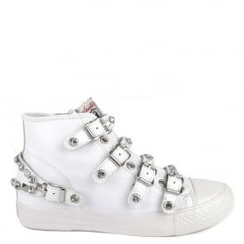 VICTORIA Buckle Trainers White Leather & Silver Studs