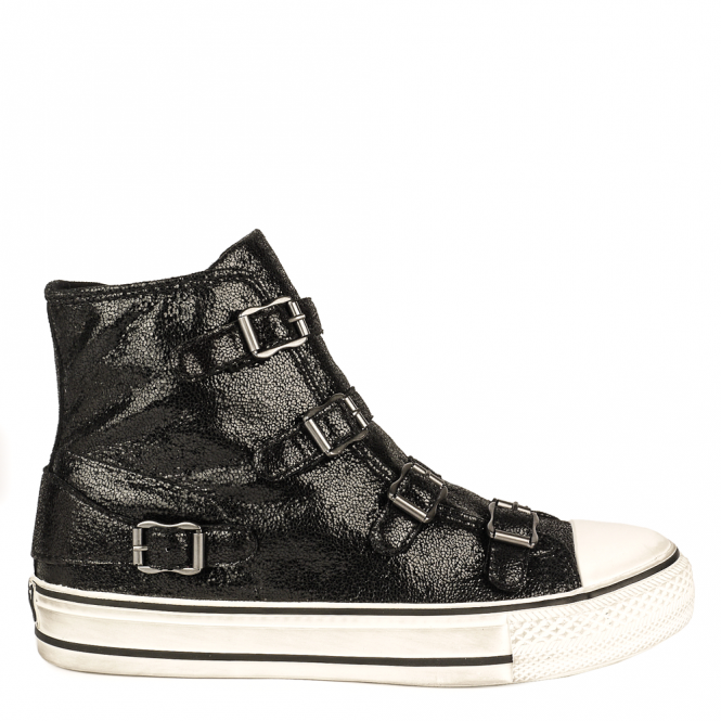 Ash VIRGIN Buckle Trainers Black Glitter Coated Leather