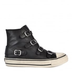 VIRGIN Buckle Trainers Black Leather & Antic Silver Buckles