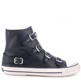 VIRGIN Buckle Trainers Black Leather