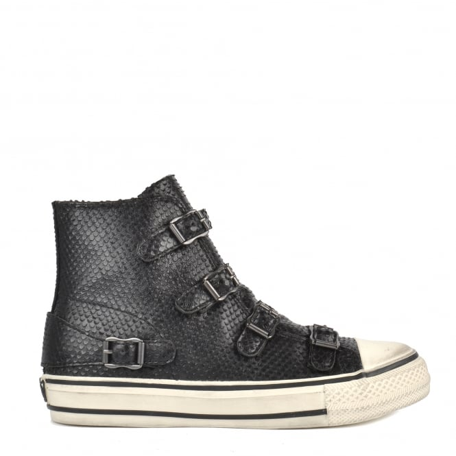 Ash VIRGIN Buckle Trainers Black Mini Scaled Leather