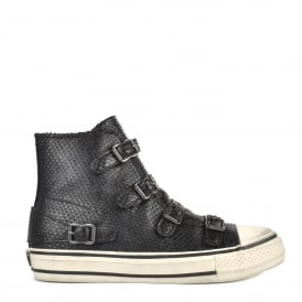 VIRGIN Buckle Trainers Black Mini Scaled Leather