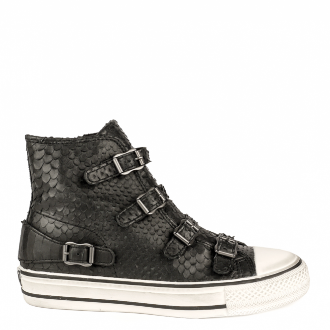 Ash VIRGIN Buckle Trainers Black Python Scale Leather