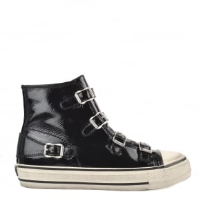 Ash VIRGIN Buckle Trainers Black Vinyl Coated Leather