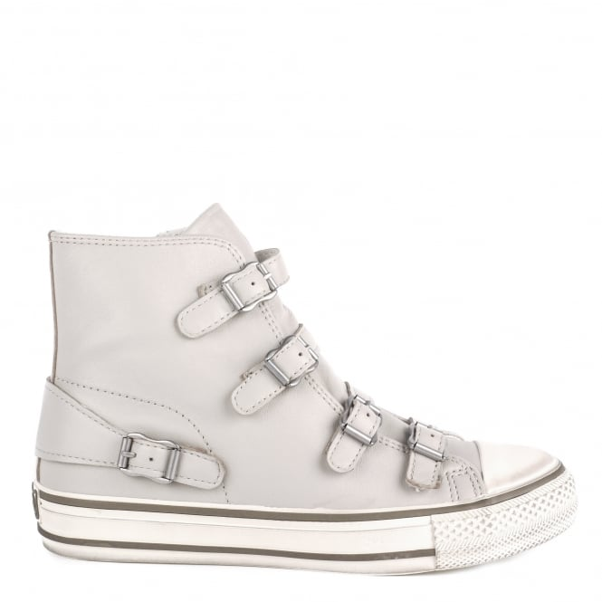 Ash VIRGIN Buckle Trainers Pearl Grey Leather