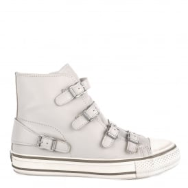 VIRGIN Buckle Trainers Pearl Grey Leather
