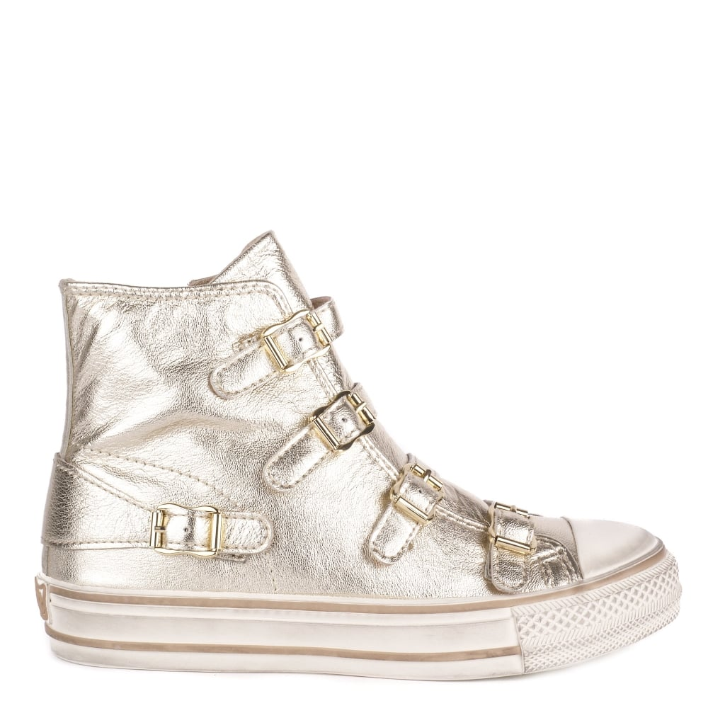 VIRGIN Buckle Trainers Platine Leather